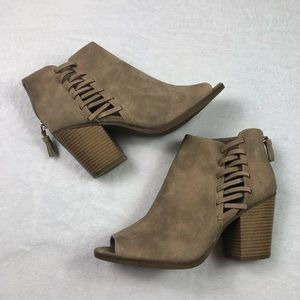 Just Fab tan heeled booties!